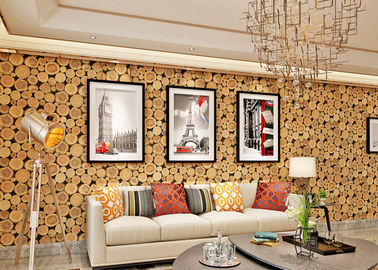 Soundproof Wood 3D Room Wallpaper , 3D Vinyl Wallpaper For TV Background