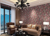 Waterproof Retro Style Wallpapers Embossed Vantage Plum Floral Pattern