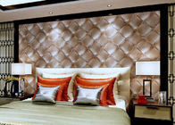 Luxurious Living Room Wallpaper Brown Color with 3D Leather Pattern , 0.53*10M size