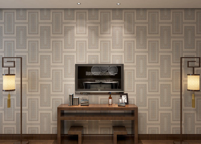 Waterproof White Gray Contemporary Wallpaper With Creamy White Plaid Pattern