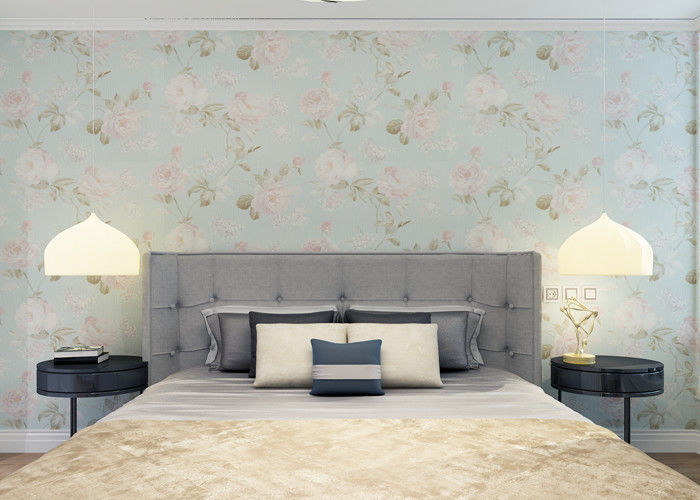Moisture Proof Country Floral Wallpaper / PVC Embossed Wall Covering For Living Room