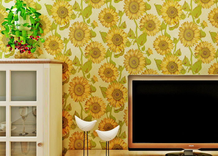 Sunflower Pattern Living Room Modern Wallpaper With Embossed Surface , Golden Color