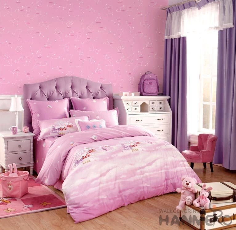 Removable Little Girls Bedroom Wallpaper , Girls Pink Bedroom Wallpaper
